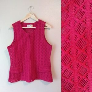 VINTAGE Devonette Polytron Hot Pink Sleeveless Top